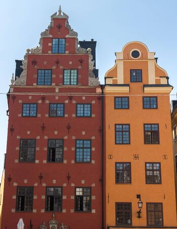 Colorful facade of the houses in Stockholm