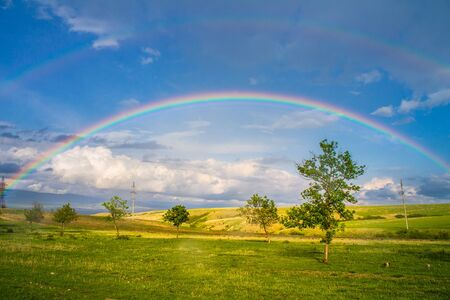 Beautiful landscape with rainbow, green field and trees