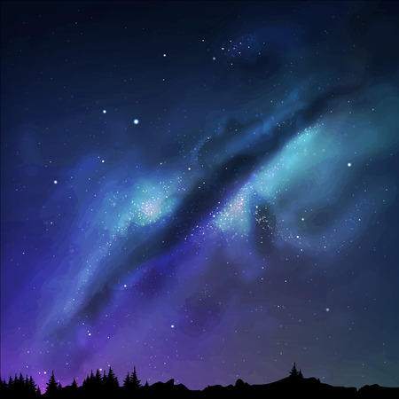 noche estrellada: ilustración de una vía láctea. Cielo nocturno.