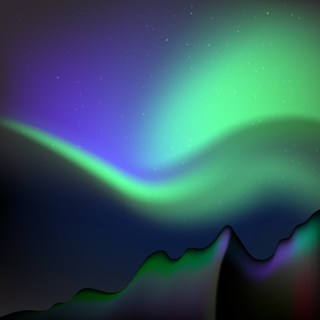 illustration Northern Lights. Polar Lights Magnetic storms Starry sky. Stock Illustratie