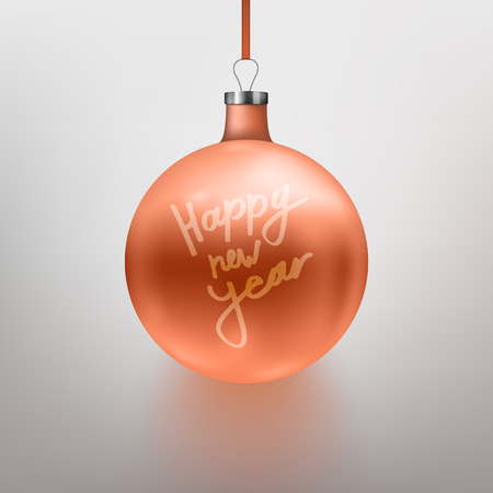 Vector illustration realistic rose gold Christmas toy, ball. Gray background. Calligraphy Happy New Year. EPS10.