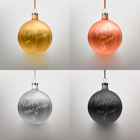 Vector illustration set realistic Christmas toy, ball. Gray background. Gold, rose gold, silver, black Calligraphy Happy New Year. EPS10.