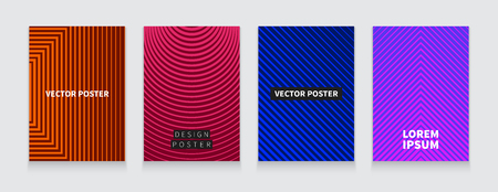 illustration minimal covers design. Geometric halftone gradients. Set futuristic posters. Templates for placards, banners, flyers, presentations and reports