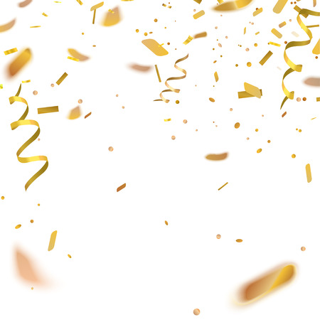 Stock illustration gold confetti isolated on a white background Standard-Bild - 104368208