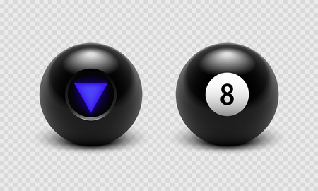 Vector illustration Magic 8 ball set. Eight. Isolated on a transparent checkered background Archivio Fotografico