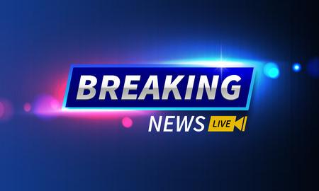 Ilustración vectorial de stock logotipo de noticias de última hora en vivo. Fondo de luces de policía, bokeh, noticias de última hora en vivo