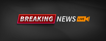 logo breaking news live banner wide format. Black wavy lines background