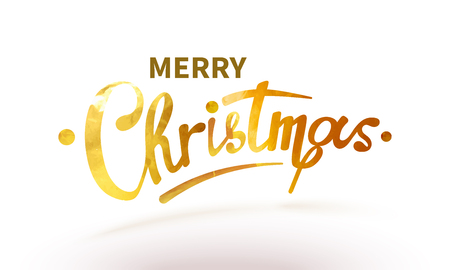 text Merry Christmas lettering shiny, sparkly typeface gold leaf. Golden confetti Isolated on white background 矢量图像