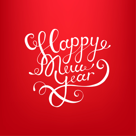 calligraphic text Happy New Year lettering design card template red background 矢量图像
