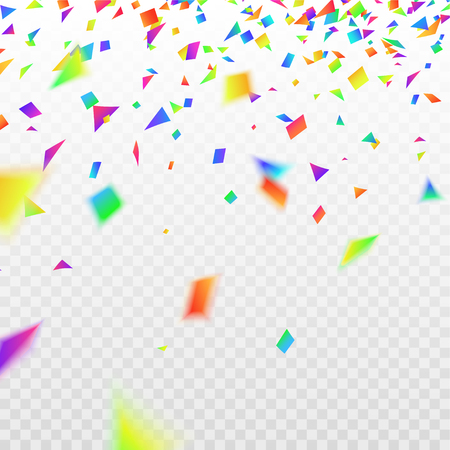 realistic defocused colorful, multicolor confetti, glitters Isolated on a checkered background