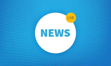 logo breaking news live banner. Blue wavy lines background. Modern design of news 免版税图像