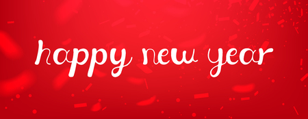 calligraphic text Happy New Year lettering design card template red background. Calligraphy font style banner, creative text typography holiday greeting