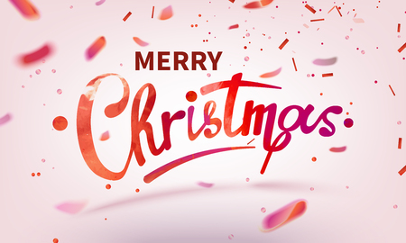text Merry Christmas lettering shiny, sparkly typeface red leaf. Pink confetti Isolated on white background