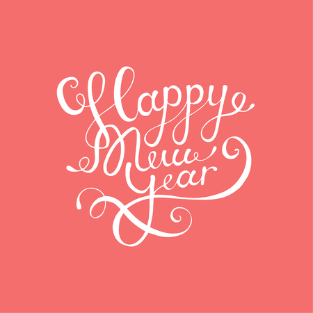 calligraphic text Happy New Year lettering design card template pink background. Calligraphy font style banner
