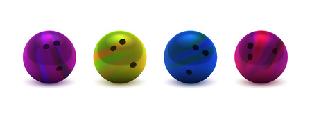 Vector illustration realistic colorful 3D purple, yellow, dark blue, pink bowling ball large set. Isolated on a transparent checkered background. Design element EPS10