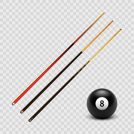 Stock vector illustration realistic billiard, pool cue set and the ball 8 Isolated on a transparent checkered background