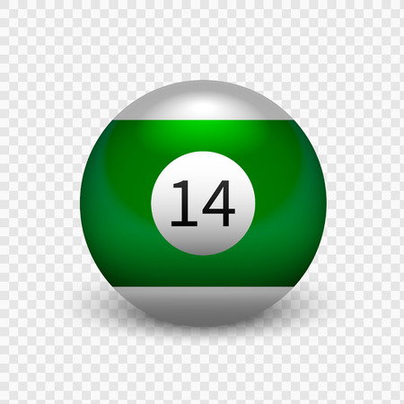 Stock vector illustration yellow ball for billiards Isolated on a transparent background. Number 14