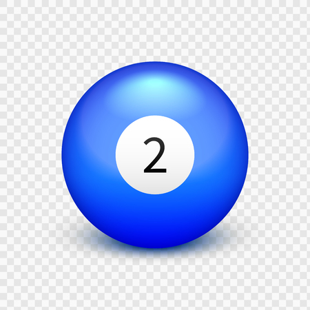 Stock vector illustration yellow ball for billiards Isolated on a transparent background. Number 2
