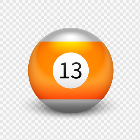 Stock vector illustration yellow ball for billiards Isolated on a transparent background. Number 13