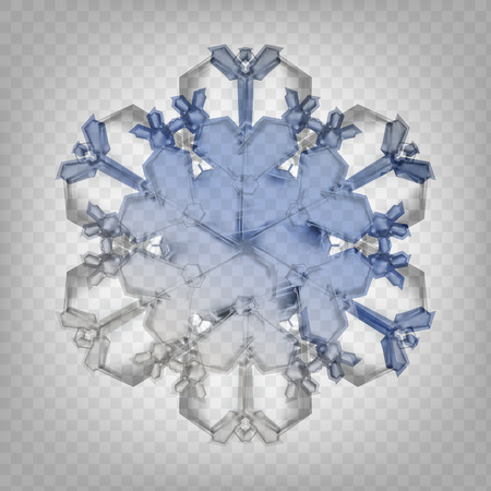 Stock vector illustration realistic snowflake. Isolated on a transparent background. Fall of snow. Flake of snow Ilustração Vetorial