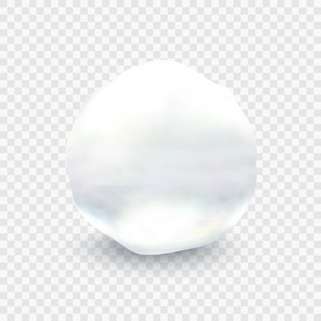 Stock vector illustration snowball closeup. ball of snow isolated on a transparent background.