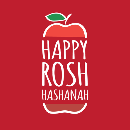Stock vector illustration Happy Rosh Hashanah holiday. Stylized apple. Font composition. The Jewish New Year. Stok Fotoğraf