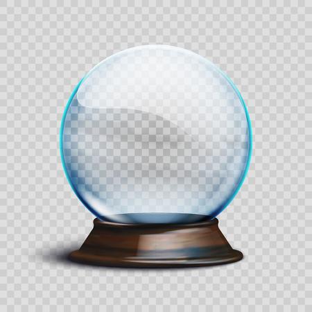 Illustration vectorielle Stock réaliste boule de neige Noël vide isolé sur un fond transparent