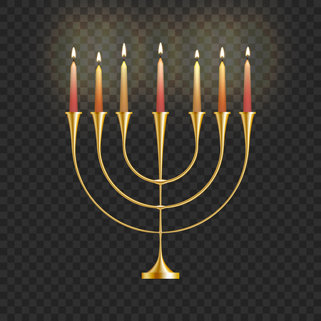 Stock vector illustration Hanukkah menorah with candles isolated on a transparent background. Jewish candlestick. Festival of Lights, Feast of Dedication. Hanukkah golden menorah. EPS10 일러스트