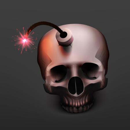 Crâne humain de bombe réaliste illustration vectorielle stock. Arrêtez le terrorisme. Un kamikaze. EPS 10