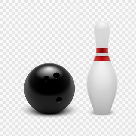 Boule de bowling d'illustration vectorielle et quilles. Isolé sur un fond transparent. EPS10