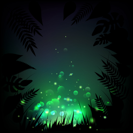 Stock vector illustration fireflies night tropical background. Lights, leaves, grass. EPS10 Illustration