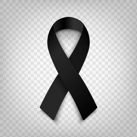 Ruban de sensibilisation noir illustration vectorielle stock sur fond transparent. Symbole de deuil et de mélanome. Terrorisme. Mort EPS 10 Vecteurs