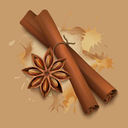Stock illustration realistic cinnamon sticks.