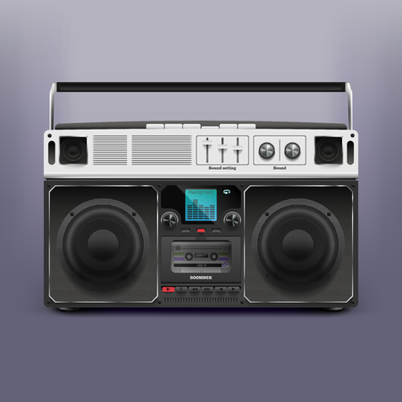 Illustration boombox. Tape recorder. Record player. 일러스트