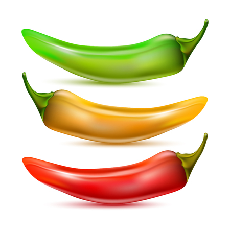 hot chilli pepper set isolated on white background. Red, yellow and green Иллюстрация