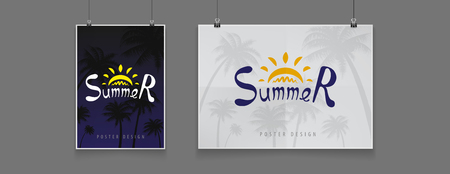 Stock illustration night billboard summer. Palm trees, date palms. Nighttime, black, late evening, party, luxury. Mock up, mockup. Art for banners flyers placards and posters 免版税图像