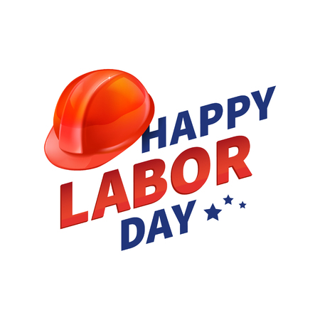 Stock vector illustration Happy Labor Day text banner, american patriotic square isolated on white background. USA National American holiday Template for placard, banner, flyer, presentation report