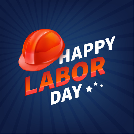 Stock vector illustration Happy Labor Day text banner, american patriotic square isolated on blue background. USA National American holiday Template for placard, banner, flyer, presentation report