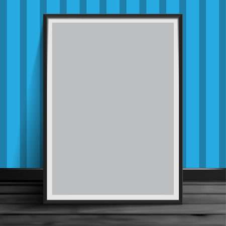 Stock vector illustration mockup mock up realistic picture template photoframes. Blank paper gray. Art for banners, placards and posters EPS10 免版税图像
