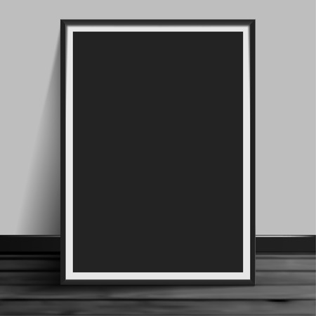Stock vector illustration mockup mock up realistic picture template photoframes. Blank paper black. Art for banners, placards and posters EPS10