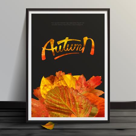 Maqueta de ilustración vectorial de stock simulacro de plantilla de imagen realista Diseño de otoño. Arte para pancartas, volantes, pancartas y carteles marcos de fotos EPS10 Ilustración de vector