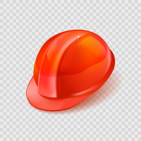 Realistic orange construction helmet isolated on checkered background