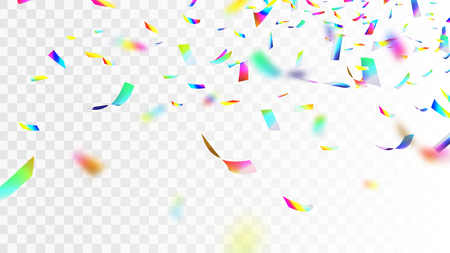 Iridescent rainbow confetti isolated on checkered background.