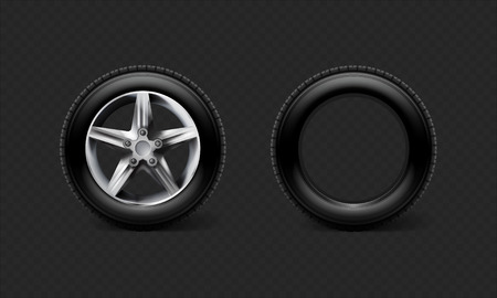 Realistic car wheels set tyre bus, truck isolated on transparent black background