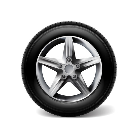 Realistic car wheels set tyre bus, truck isolated on white background