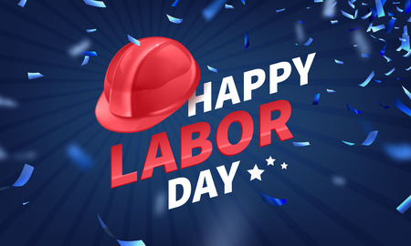 Happy Labor Day text banner, American patriotic square isolated on blue background.