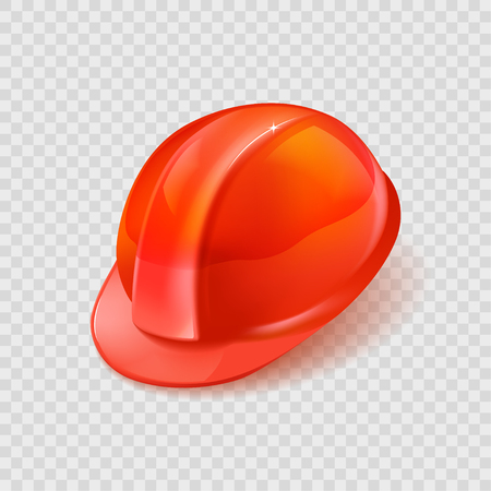 Stock vector illustration realistic orange construction helmet isolated on transparent checkered background EPS10