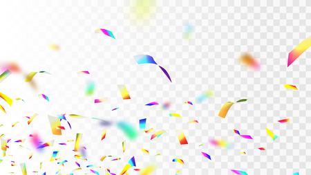 Illustration vectorielle stock défocalisation brillant, brillant confettis arc-en-ciel irisé isolé sur fond quadrillé transparent. Paillettes multicolores EPS10 Vecteurs