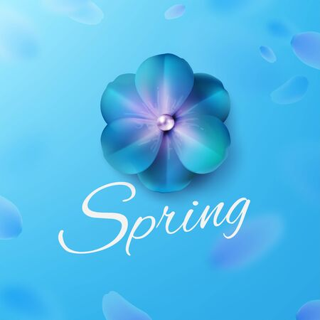Hello, hi spring blue background stock vector illustration. Realistic flower. Templates for placards, banners, flyers, presentations, reports, invitation, posters, brochure, voucher discount. EPS10 矢量图像
