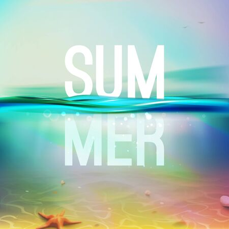 Underwater blue, aqua, green realistic ocean background. Summer backdrop. Vector illustration with deep underwater sea scene. Banner with horizon water surface. The bubbles in the water, seabed. EPS 矢量图像